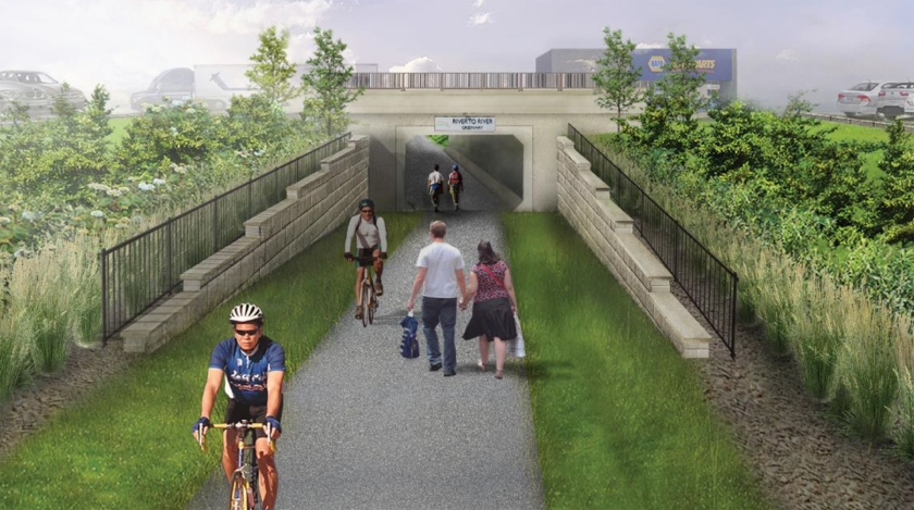 Rendering of River-to-River Greenway underpass at Robert Street