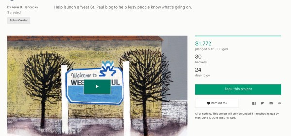 Screenshot of West St. Paul Kickstarter Campaign