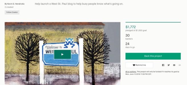 Screenshot of West St. Paul Kickstarter Campaign