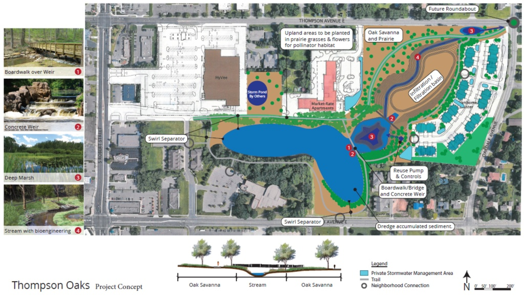 Thompson Oaks Wetland Restoration preliminary concept drawing