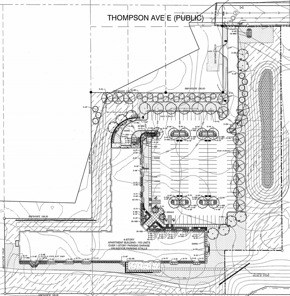 240 Thompson Ave. apartment building site review plan
