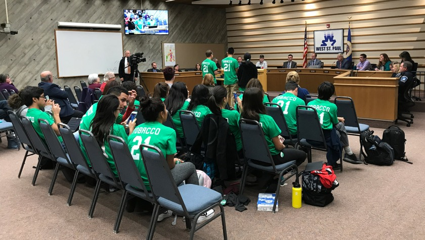 West St. Paul city council meeting on Oct. 14 with students supporting Tobacco 21