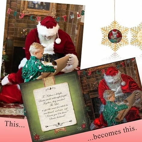 Custom Santa picture and wooden ornament