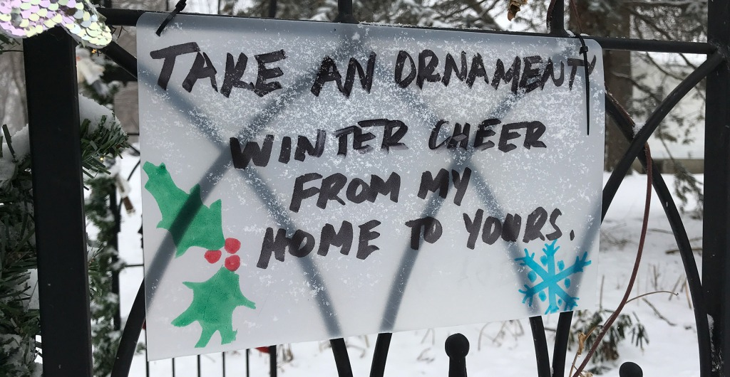 Sign: Take an ornament. Winter cheer from my home to yours.