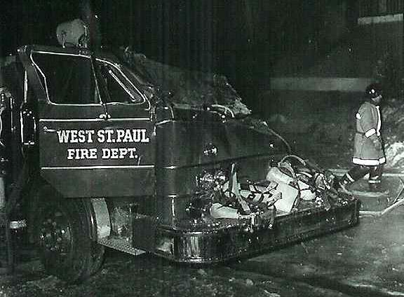 Damaged West St. Paul Fire Dept. fire truck
