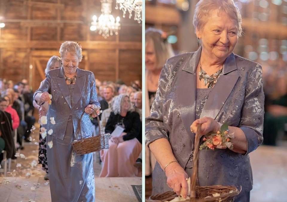 Two pictures of Darlene Lewis as a flower girl in her granddaughter's wedding.
