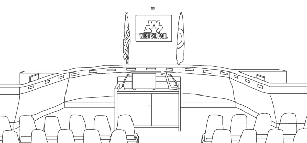 West St. Paul council chambers in coloring book format