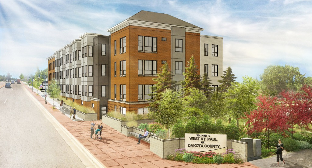 Conceptual drawing of North Gateway apartment building in West St. Paul.