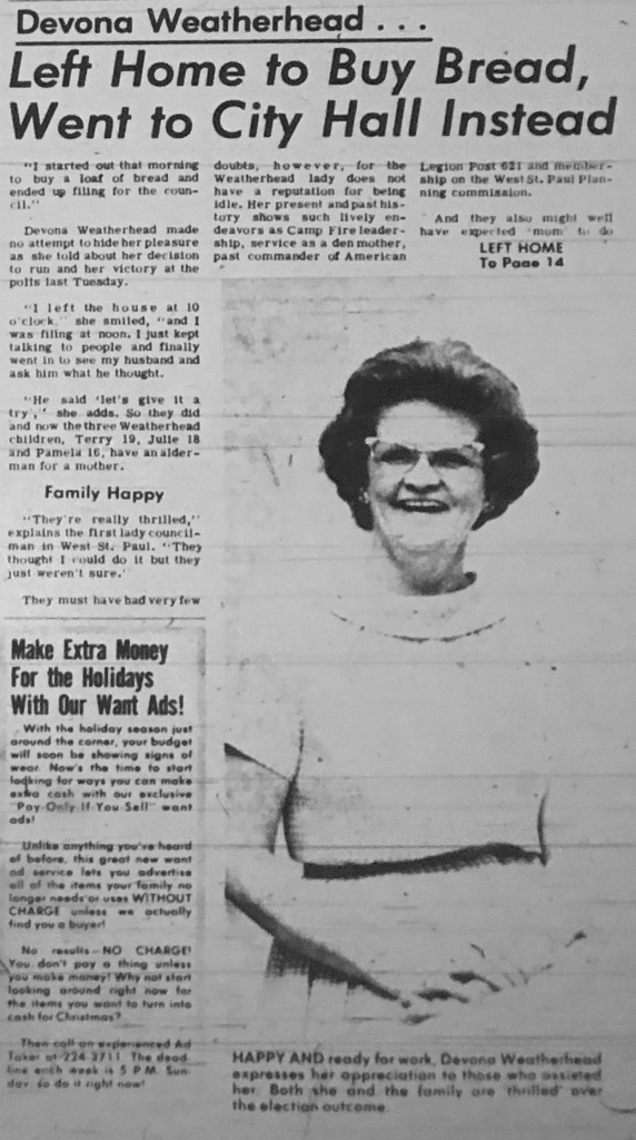 Newspaper clipping from November 1966 profiling Devona Weatherhead after her election win.
