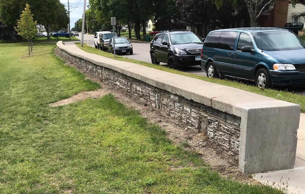 Original WPA wall at Harmon Park