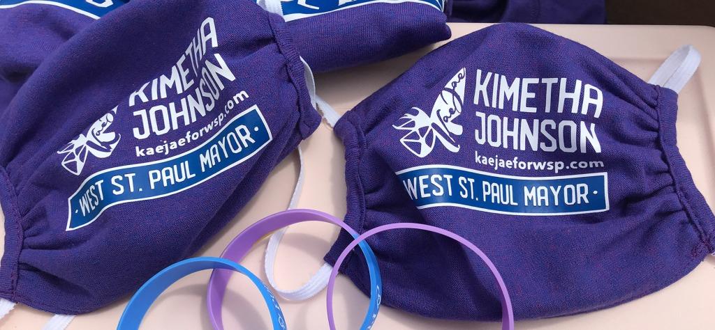 Kimetha Johnson for mayor branded face masks.