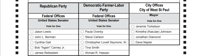 West St. Paul mayoral primary sample ballot