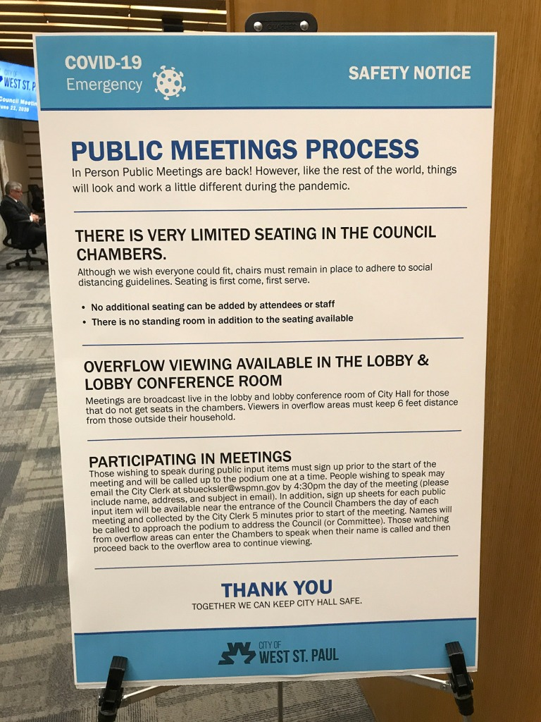 COVID-19 Public Meeting Process for West St. Paul City Council Chambers
