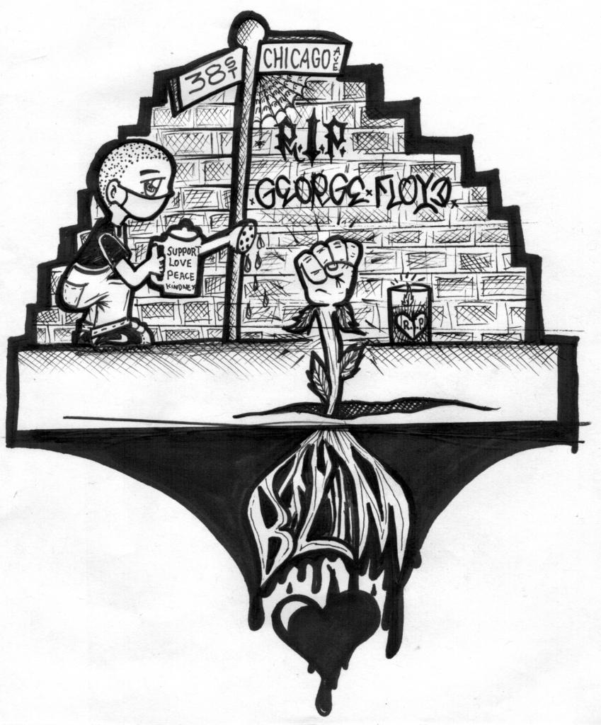 RIP George Floyd drawing by Edgar Herrera