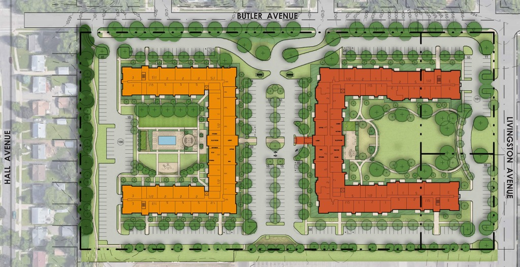 Initial plan for proposed apartments at former K-mart site in West St. Paul.
