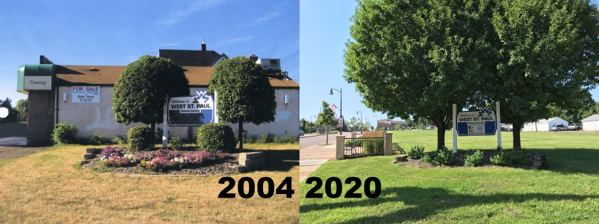 The corner of Annapolis and Robert Street in 2004 and 2020.
