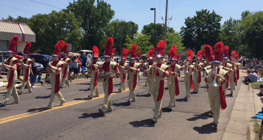 Sibley Marching Band in the West St. Paul Days parade in 2016.