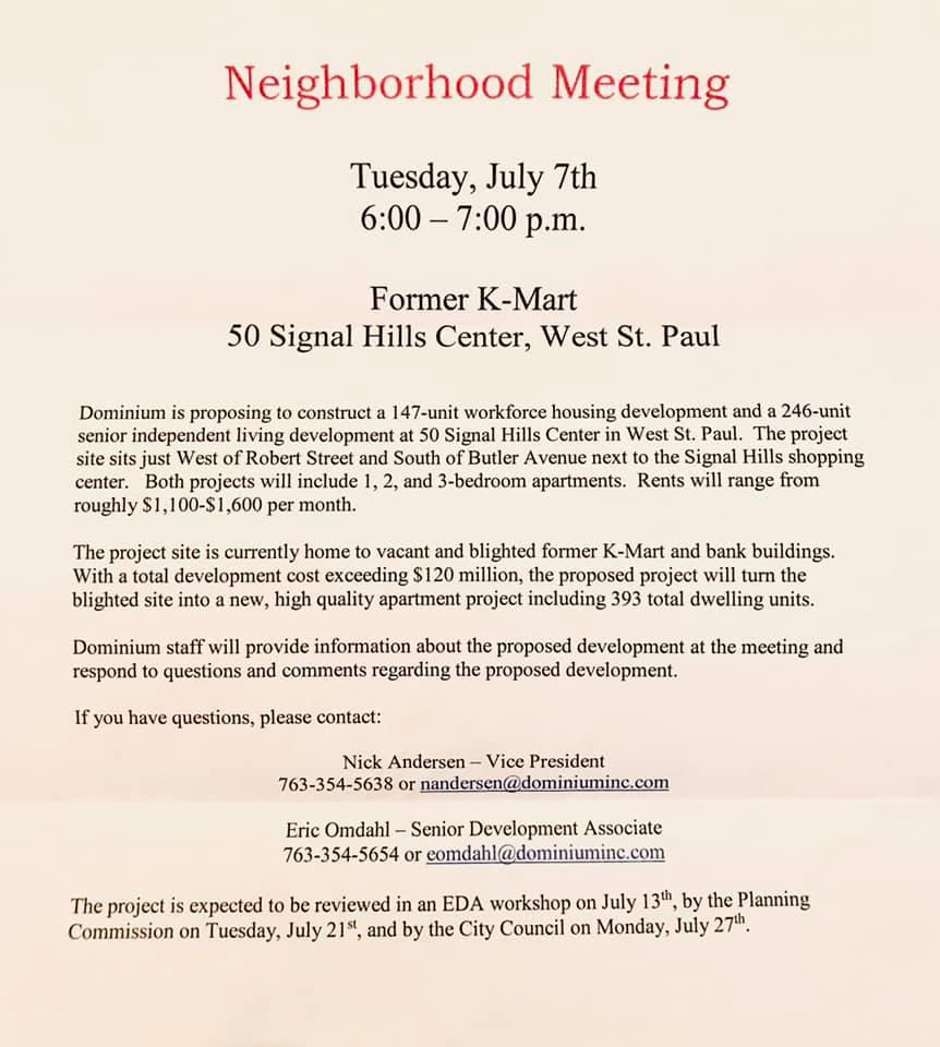 Neighborhood Meeting notice