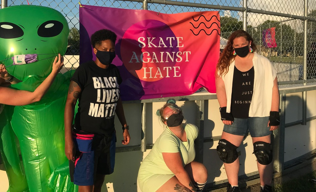 Skate Against Hate organizers Sheena McCollum, Lindsey Lyford, and Lisa Eng-Sarne.