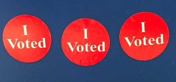 three 'I Voted' stickers