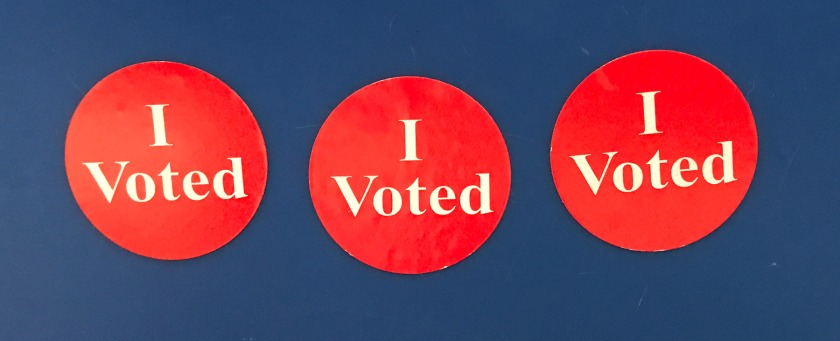 three 'I Voted' stickers