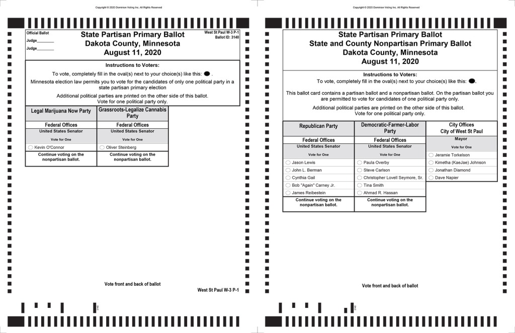 2020 sample primary ballot for West St. Paul.