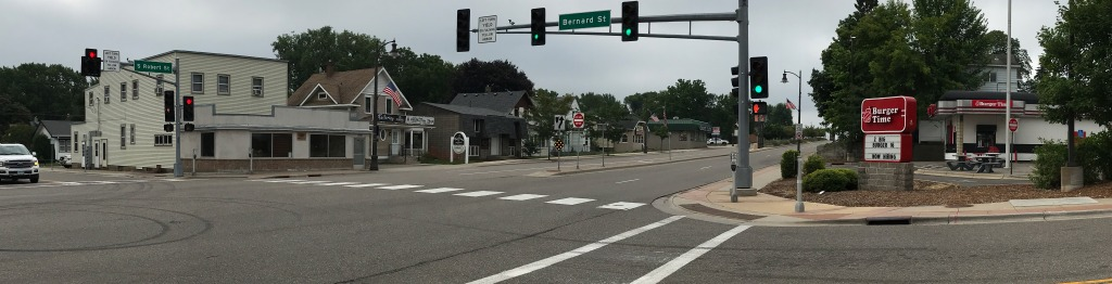 2020 view of the intersection of Robert Street and Bernard Street in West St. Paul.