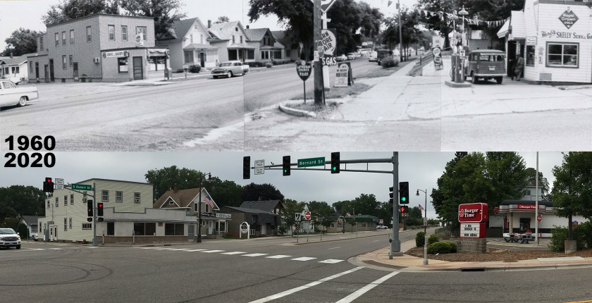 Comparing photos of Robert Street and Bernard in West St. Paul in 1960 and 2020.