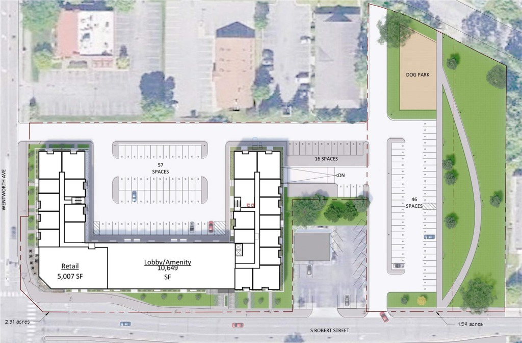Site plan for proposed apartment and retail at the corner of Robert and Wentworth in West St. Paul.