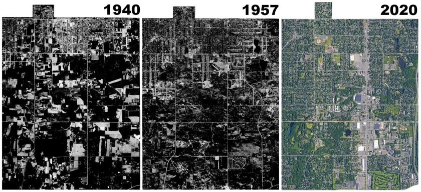 Aerial images of West St. Paul from 1940, 1957, and 2020.