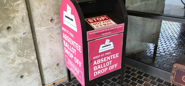 Absentee ballot drop off box in West St. Paul city hall