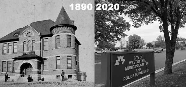 West St. Paul city hall in 1890 and 2020