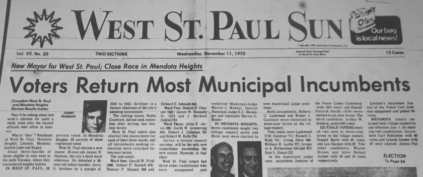 West St. Paul Sun front page from November 11, 1970 with 1970 election results