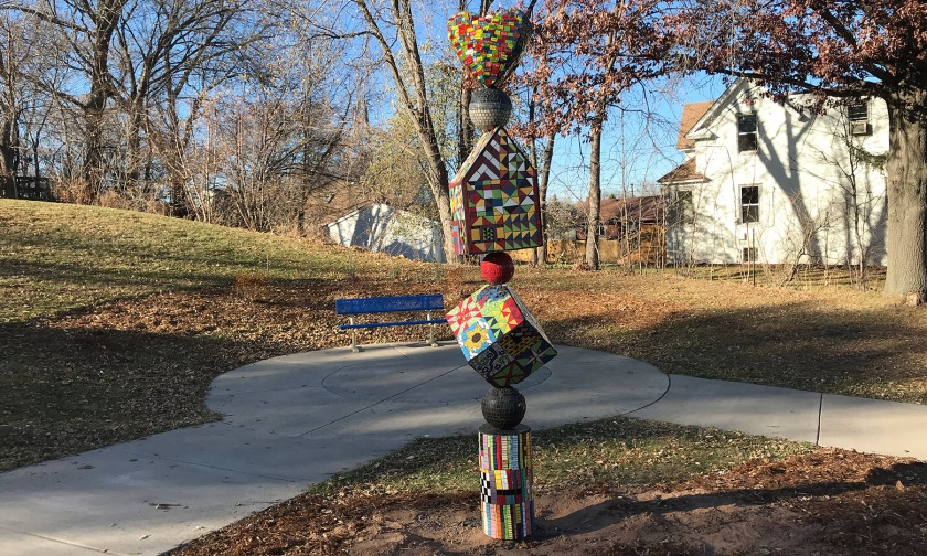"West St. Paul art park sculpture, ""A Community Cairn"" by Lori Greene"
