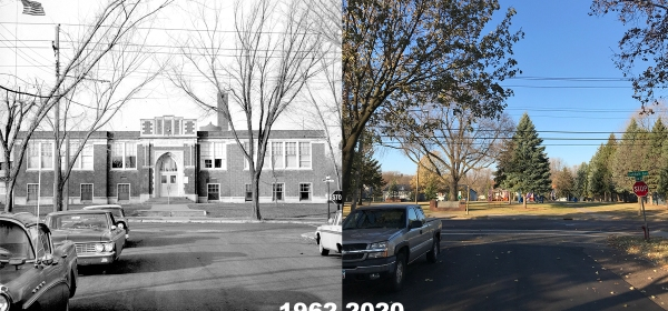 West St. Paul's Oakdale School in 1962 and Oakdale Park in 2020
