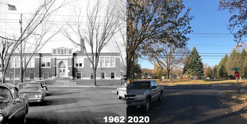 West St. Paul's Oakdale School in 1962 and Oakdale Park in 2020
