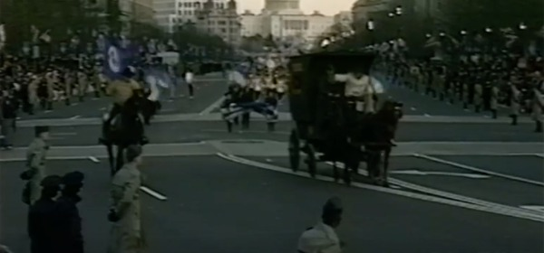 Robert Pavliak in U.S. Marshals wagon in 1989 inaugural parade