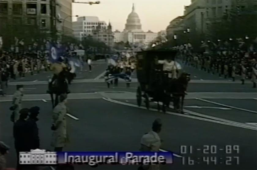Robert Pavliak in U.S. Marshals wagon in 1989 inaugural parade