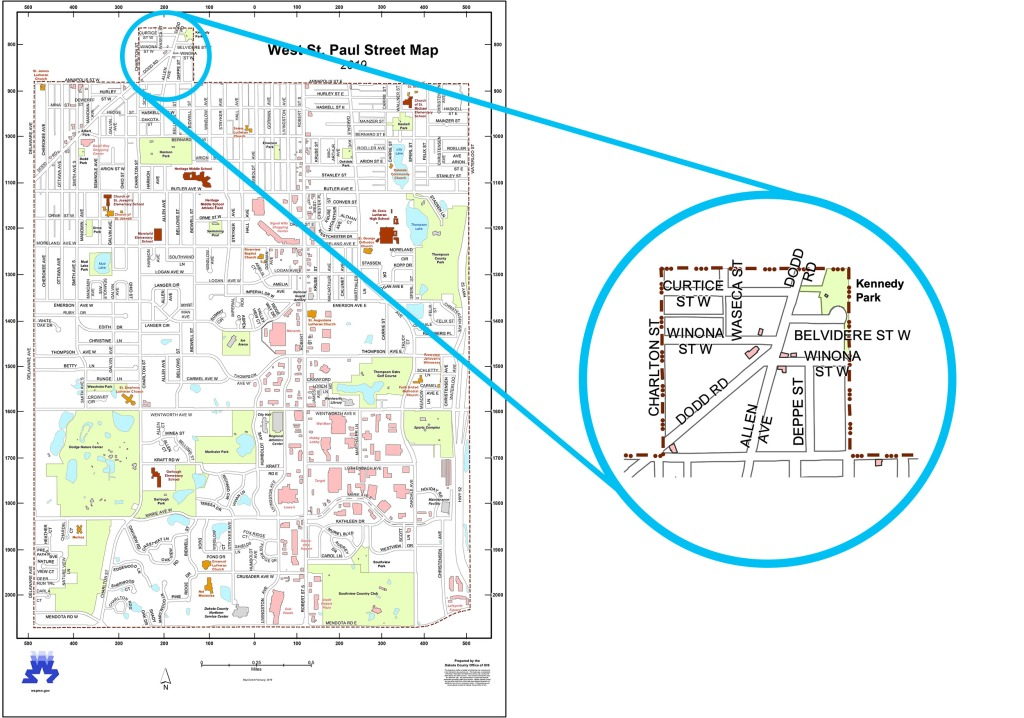 West St. Paul street map with inset view of Forty Acres neighborhood.