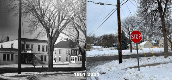 Anton Meyer building in 1961 and the same corner in 2021