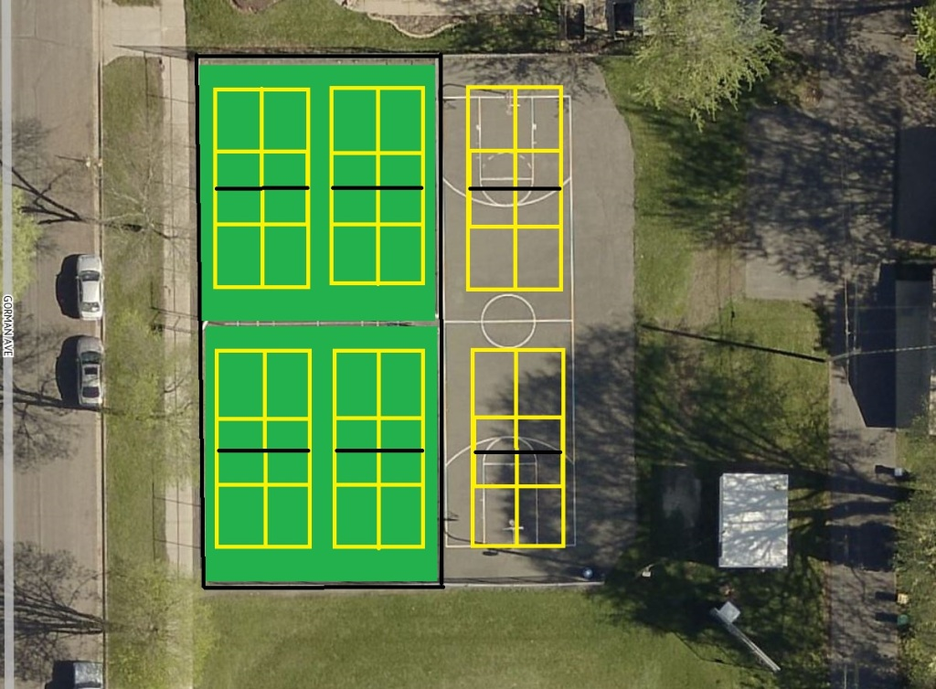 Aerial view of Emerson Park with pickleball courts drawn in.