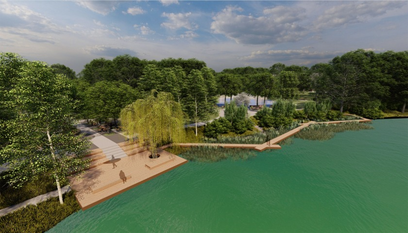 Thompson Park lake plaza and boardwalk