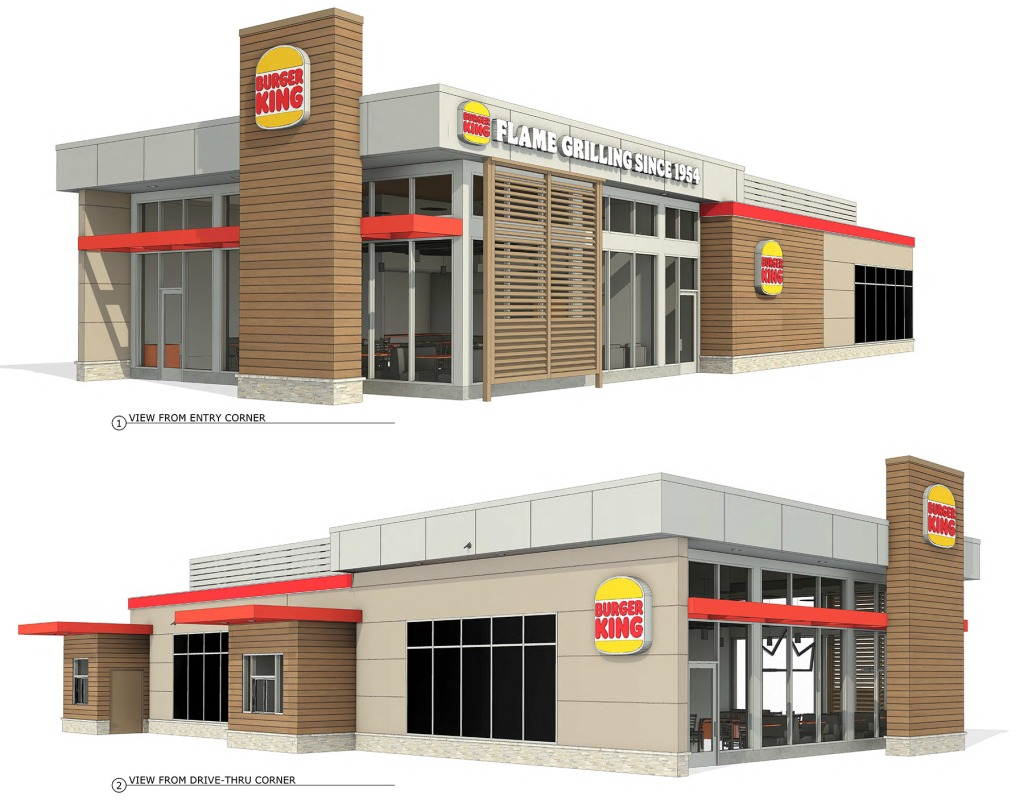 Architectural drawings of the proposed Burger King