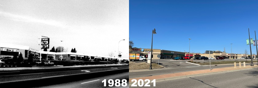 Southview Square shopping center in 1988 and 2021