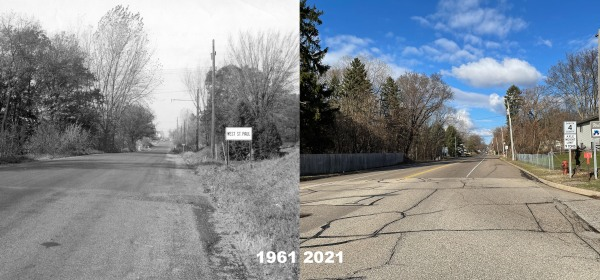 Butler Avenue at the West St. Paul city limits in 1961 and 2021