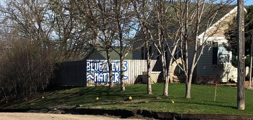 Blue Lives Matter mural in West St. Paul
