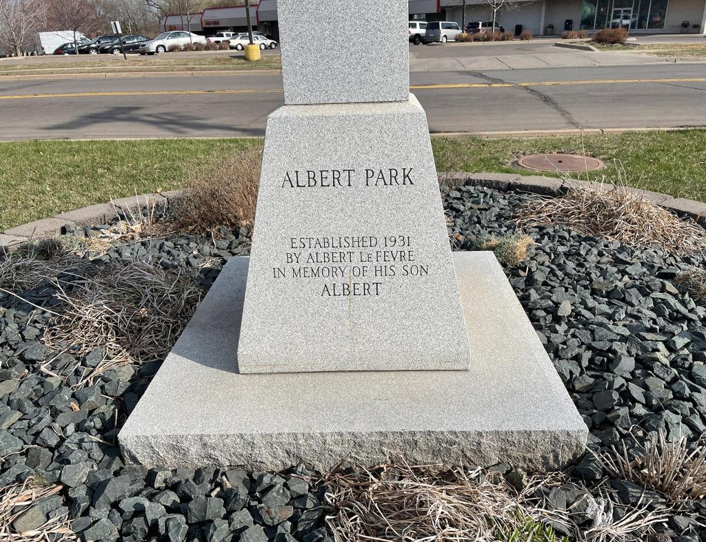 Albert Park: Established 1931 by Albert Lefevre in memory of his son Albert.