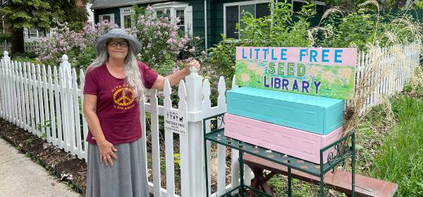 Suzanne De Young and her Little Free Seed Library