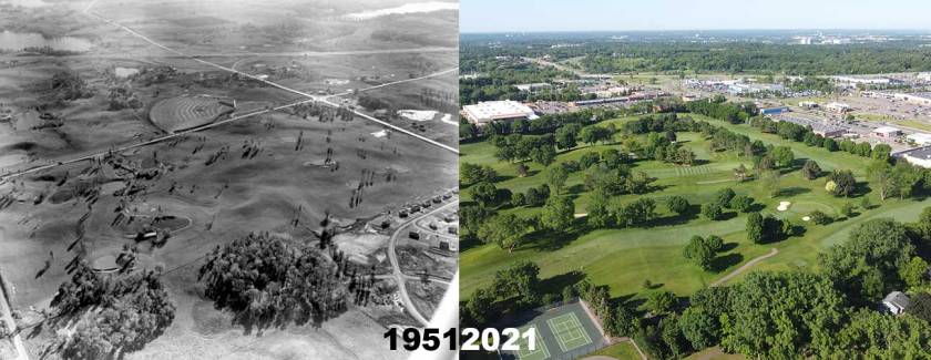 Aerial view of the Southview Country Club in West St. Paul in 1951 and 2021