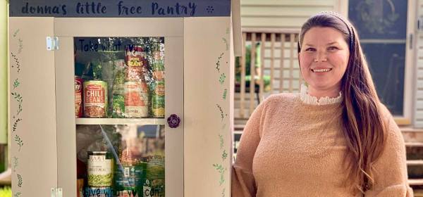 Polly Torkelson and her Little Free Pantry